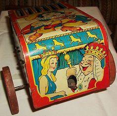 Vintage Nostalgic Marx Toy Puss N Boots Tin Litho Musical Toy 30s 40s