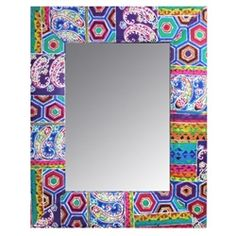 Bright multi colored fabric mirror with paisley and abstract hexagon designs to brighten up a room.