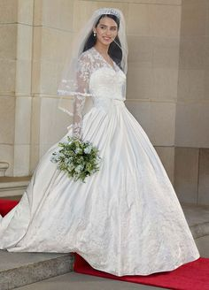 Wedding Dress: Long Sleeved Satin and Lace Ball Gown
