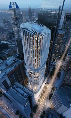 Zaha Hadid Architects has revealed new visuals of its proposed 185-metre tower in Melbourne, which will comprise stacked blocks with white filigree facades