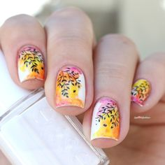 Paint All The Nails Presents Watercolor - white yellow pink watercolour nail art
