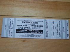 Lobby Bobby Ruth 4, Everclear, Ticket Stubs, Concert Tickets, Minneapolis, Event Ticket, Bobby