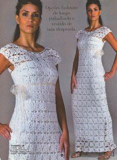 AS RECEITAS DE CROCHÊ: Vestido longo em squares de crochê