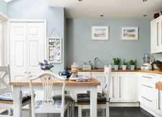 GOING COASTAL - Duck egg blue kitchen with white cabinets