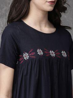 Buy Anouk Women Navy Woven Design A Line Kurta - Kurtas for Women 2505279 Stylish Dress Designs, Stylish Dresses, Casual Dresses, Fashion Dresses, Lehenga Skirt, Anarkali Kurti, Design Of Neck, A Line Kurta, Punjabi Dress