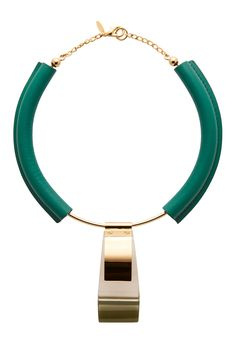 Marni Emerald Leather And Gold Metal Necklace - $730 on Vein - getvein.com