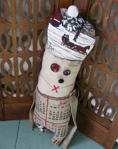 May June - Modern Vintage Rag Doll made with old burlap calendar, by Yesterday's Trash