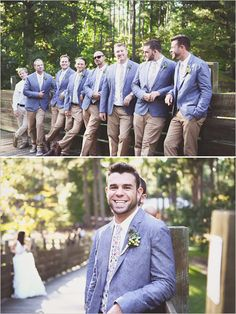 Khaki and tweed groom and groomsmen looks. Groom Attire: Penguin ---> http://www.weddingchicks.com/2014/05/13/quirky-budget-friendly-wedding/