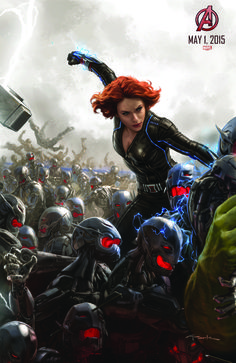 "Poster art, depicting Widow in action against Ultron's army. Shows the ""electrified"" suit, seamlines, and the hex/dot pattern of part of the material."