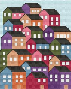 Afghans Crowded Houses Afghan Crochet Pattern - A beautiful afghan to display and great for using up some leftover yarn! What you need for the Crowded Houses Afghan: C2c Crochet, Tapestry Crochet, Crochet Afghans, Crochet Home, Pixel Crochet, Crochet Crowd, Arm Knitting, Knitting Charts, Knitting Patterns