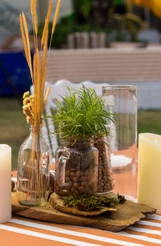 SURPRISING CENTERPIECES: Fill your table with beautiful bowls of fruit, potted herbs or even driftwood to create unexpected, awe-inspiring tablescapes.