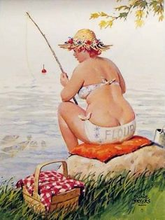 Hilda, in her straw hat & flour sack bikini -- she's ready to cast her line, but sees a bunch of darling fish all looking right at her. uh oh. They're friendly.