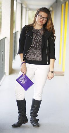 Fashion at Savannah College of Art and Design - white jeans, knee-high boots, blazer, tee, purple clutch