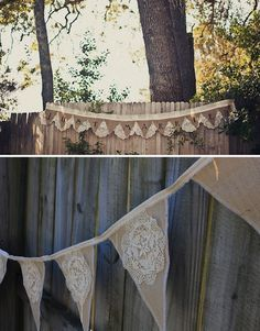 """burlap & lace bunting for wedding """"just married"""" Doily Bunting, Bunting Garland, Buntings, Chic Wedding, Rustic Wedding, Rental Decorating, Burlap Lace, Lace Doilies, Vintage Looks"""