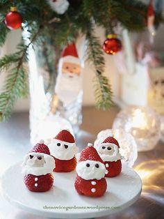 Strawberry+Christmas+Desserts | strawberry Santa #easy dessert #healthy dessert #Christmas