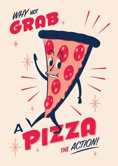Telegramm Snack Pack Pizza Siebdruck - Pizza Murals or Signs - Pizza Sign, Pizza Art, Star Pizza, Pizza Cartoon, Cartoon Art, Pizza Quotes, Pizza Poster, Pizza Branding, Vegetarian Pizza