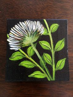 Hand painted mini canvas magnet of abstract white flower on black background.  Size 3x3 on Etsy, $19.99