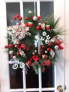 Whimsical Holiday Wreath for sale on Etsy ADecoratedDoorShop Wreaths For Sale, Holiday Wreaths, Holiday Decor, Christmas Time, Christmas Crafts, Christmas Ornaments, Christmas Ideas, Bloom Where You Are Planted, Xmas Decorations