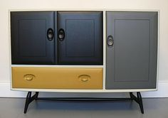 Handsomely Updated Console / Mustard, Navy and Gray. Ercol Furniture, Grey Furniture, Retro Furniture, Mid Century Modern Furniture, Upcycled Furniture, Furniture Decor, Painted Furniture, Bedroom Furniture, Navy Yellow Bedrooms