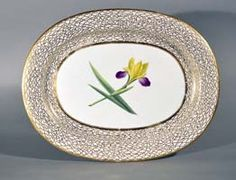 A Very Large Chamberlain Worcester Porcelain Botanical Oval Dish, Circa 1815.