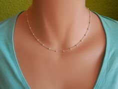 Sterling silver choker necklace layering choker thin necklace