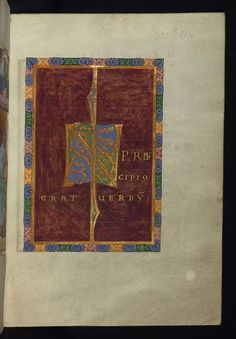 This Gospel book is believed to come from the Abbey of St. Peters in Reichenau, on the basis of its script, its illumination, and the fact that it contains a dedication image, in which a book is being handed to St Peter. The decoration of the manuscript places it in the so-called Luithar school of Reichenau