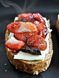 Roasted Strawberry, Brie, And Chocolate Grilled Cheese.... Wowwie!! sounds awesome!