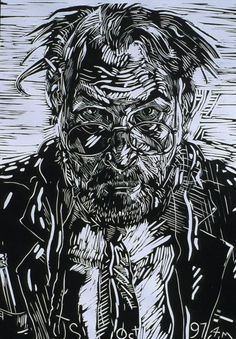 Self Linocut by Jerry Schutte (Tempe, ZA) 18 x 13 inches