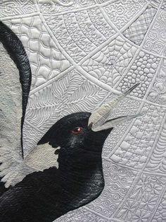 close up,  Zen Magpies by Helen Godden. 100 different Zen quilting designs.   2013 Sydney quilt show; photo by itscrowtime.