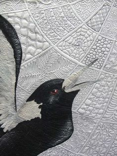 Love the detail! - BadAss Quilter close up, Zen Magpies by Helen Godden. 100 different Zen quilting designs. 2013 Sydney quilt show; photo by itscrowtime.
