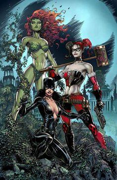 Gotham City Sirens: Harley Quinn, Catwoman and Poison Ivy Gotham City, Gotham Joker, Comic Art Girls, Comics Girls, Pamela Isley, Joker Und Harley Quinn, Gotham Girls, Mundo Comic, Dc Comics Art