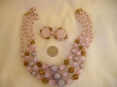 Vintage Lisner Purple & Gold Beaded Demi Parure ESTATE FIND | eBay