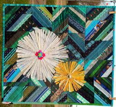 Daisy Daisy Quilted Art Wall Hanging Heirloom by Diane Lapacek #quilt #daisy