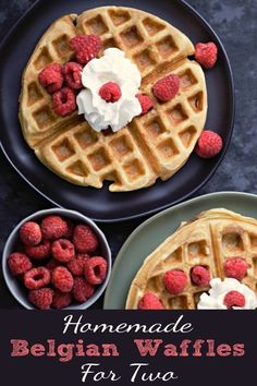 These Homemade Belgian Waffles are super easy, delicious, and quick, ready in just 20 minutes. They are crispy, light, and fluffy. These waffles are made from scratch and make a delicious breakfast, lunch, or dinner for two. We use a double-sided flipping waffle iron so they are cooked and done all at the same time. No need to keep one warm while waiting for the second one to cook. #waffles #BelgianWaffles #BreakfastForTwo #breakfast #LunchForTwo #DinnerForTwo