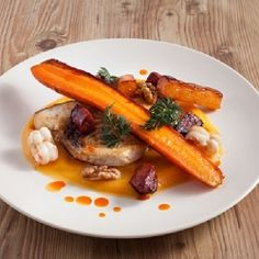 Pan Fried White Fish with Butternut Squash Puree, Carrot, Chorizo, Langoustines, Walnuts - A gorgeous plate of in season food!