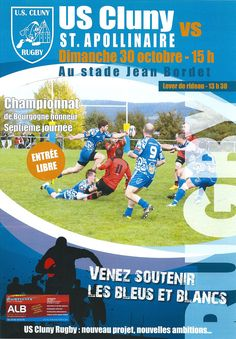 Match US Cluny rugby - Saint-Apollinaire le 30 octobre 2016 à Cluny : http://clun.yt/2dJ4Y43