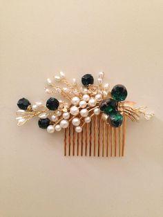 Emerald Gold and Pearls Bridal Hair comb vintage brooch headpiece Handmade weddings OOAK by amuandpri on Etsy https://www.etsy.com/listing/198319221/emerald-gold-and-pearls-bridal-hair-comb