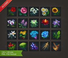 Flower & Plant RPG Crafting Icon set - game icons - Super Game Asset