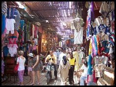 This place is truly an experience: The Souk of Marrakech, or covered market, is maze of alleyways with all manner of stalls and shops selling everything from slippers to spices. It is at the time a colorful, strange, magical and crowded place where you can buy everything and haggle over with merchants.