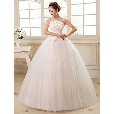 vestido de novia palabra de longitud vestido de bola sin tirantes de tul – USD $ 49.99