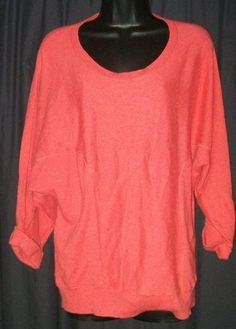 "$26.99 	  Chico's Chicos Orange Cotton Rayon Rabbit Hair Blend Slouchy Top 2 M L 48"" Bust"