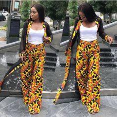 African Print Kimono Jacket with Wide Leg Pants – Ankara Print – African Dress – Two Piece – Handmade – Africa Clothing – African Fashion African Fashion Designers, African Print Fashion, Africa Fashion, African Fashion Dresses, African Attire, African Wear, African Dress, African Style, Mode Kimono