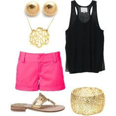 Summer outfit - LOVE! Bright shorts, black top & gold accessories