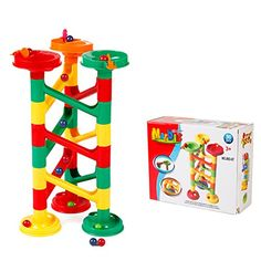 ToyerBee 30 Pcs Fun Creative Marble Run Coaster DIY Constructing Maze Toy For Kids *** Additional details @ Kid Check, Diy Coasters, Learning Through Play, Kids Reading, Building Toys, Bright Colors, Your Child, Girl Birthday, Kids Toys