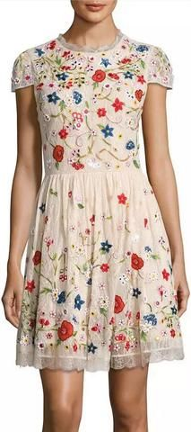 'Ariel' Cap-Sleeve Embroidered Lace Cocktail Dress
