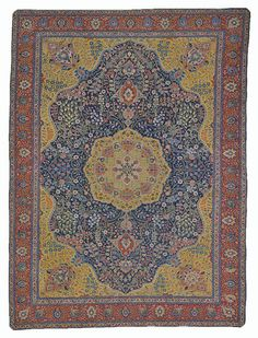 #Antique Khoy rug with an extremely intricate design and a medallion of yellow on a field of blue A01L5041