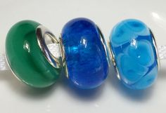 Lampwork glass beads...big hole to fit European style charm jewellery 5mm hole 3 colours by BdazzledJewellery on Etsy