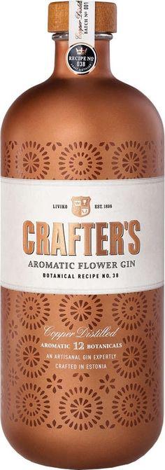 Gin nach Recipe 38 von Crafter's in der 0,7 Liter Flasche mit 44,3% Vol. Alc.