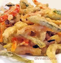 En esta receta he preparado sólo tempura de verduras. Si quieres hacer una tempura mixta mar y tierra añade a la fritura unos langostinos o gambas grandes pelados conservando la cáscara en la punta de la cola para cogerlos mejor.