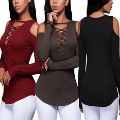 Fashion Women Solid Long Sleeve Off Shoulder Lace up V-neck Shirt Blouse Tops for Autumn and Winter